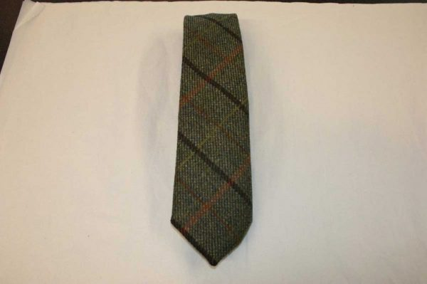 Scottish 100% Wool Woven Tweed Tie (Brown-Orange-Yellow Overcheck)