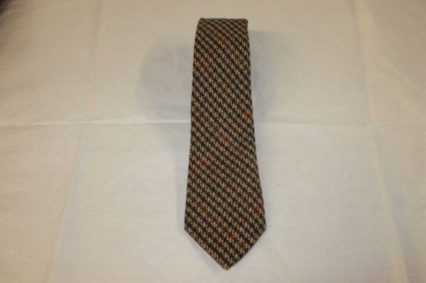 Scottish 100% Wool Woven Tweed Tie (Fawn with Multicolour Overchecks)