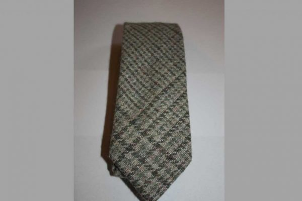 Scottish 100% Silk/Wool/Cotton Woven Tweed Tie - Jade, Light Grey blend
