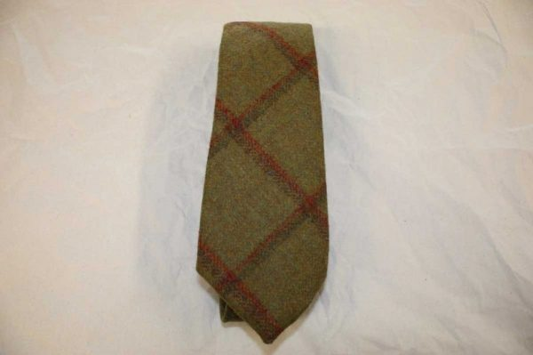 Scottish 100% Wool Woven Tweed Tie (Mustard Green with Overcheck)