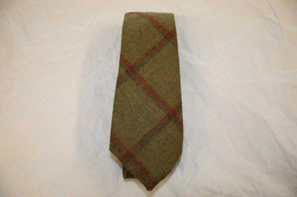 Scottish 100% Wool Woven Tweed Tie (Mustard Green with Overcheck)