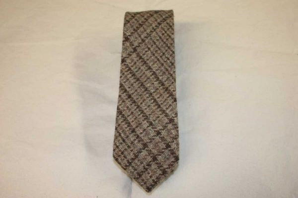 Scottish 100% Silk/Wool/Cotton Woven Tweed Tie - Brown