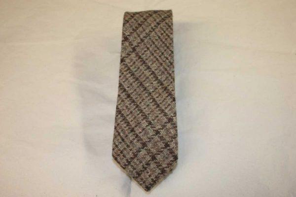 Scottish 100% Silk/Wool/Cotton Woven Tweed Tie - Brown