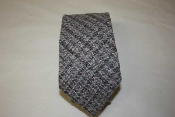 Scottish 100% Silk/Wool/Cotton Woven Tweed Tie - Lilac, Light Grey blend
