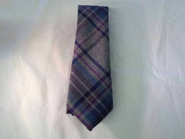 Scottish 100% Worsted Wool Fabric Tie from Kingcraig Brora - Light Grey Mix