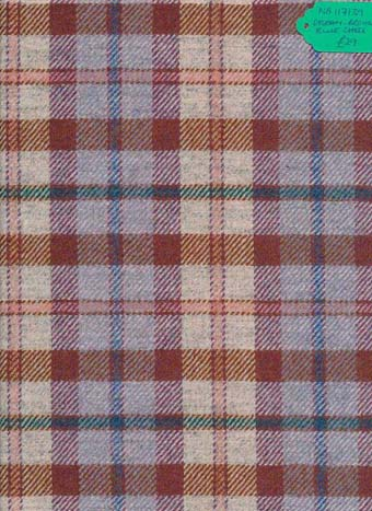 Kingcraig Fabrics Cream Brown Blue Check