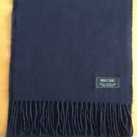100% Cashmere Solid Shade Scarf - Navy Blue