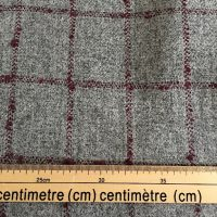 100% Wool Fabric, Light Grey with Burgundy Over Check