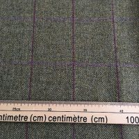 100% Wool Fabric, Mid Green Purple Lilac Over Check