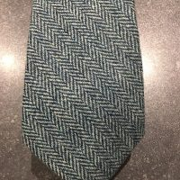 Scottish 100% Wool Woven Tweed Tie - Light Jade Herringbone