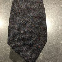 Scottish 100% Wool Woven Tweed Tie - Dark Heather Herringbone