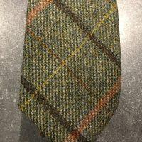 Scottish 100% Wool Woven Tweed Tie Green Brown-Orange Orange-Yellow