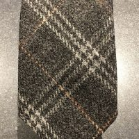 Scottish 100% Wool Woven Tweed Tie Dark Grey Multicheck